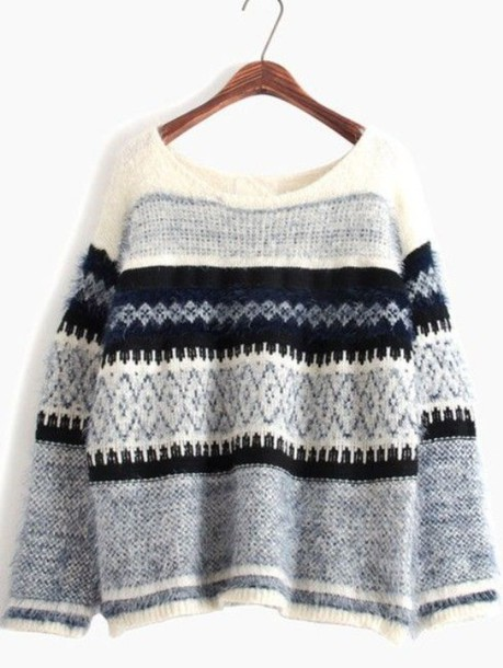 Sweater: blue sweater, blue and white sweater, blue patterned ...