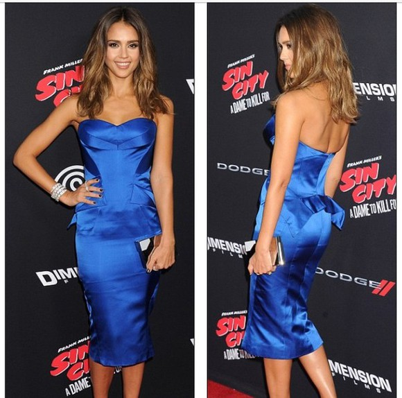 jessica alba blue dress bustier dress satin dress