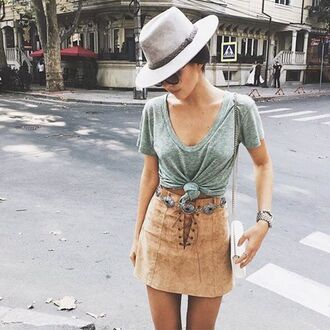 skirt lace-up skirt camel suede skirt suede skirt mini skirt top grey top knot top hat felt hat grey hat doina ciobanu the golden diamonds blogger