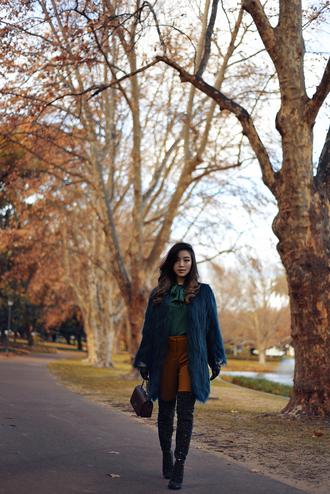 pale division blogger coat blouse pants gloves bag shoes