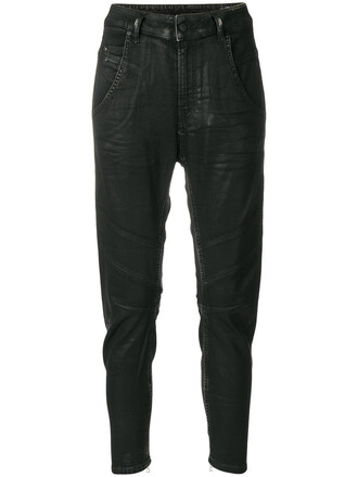 jeans women spandex leather cotton black
