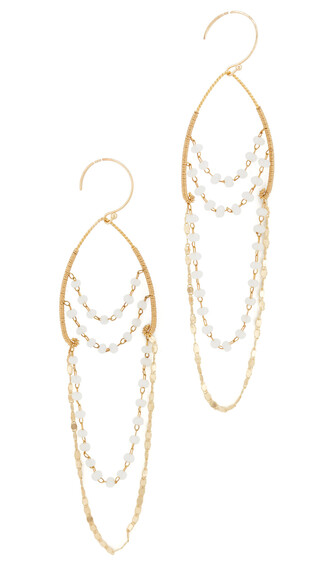 earrings gold white jewels