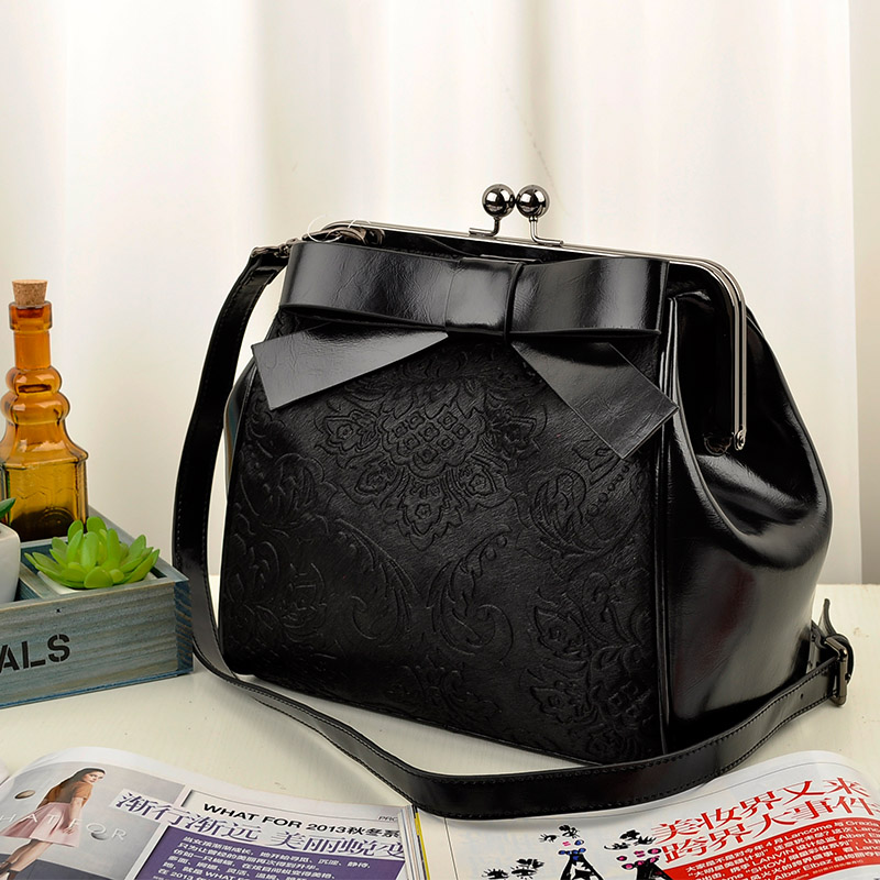 women's genuine leather handbag fashion vintage clip package cowhide horsehair bag embossed bow small bag messenger bag-inMessenger Bags from Luggage & Bags on Aliexpress.com
