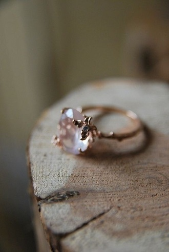 jewels rin rose rose gold leaves ring stone