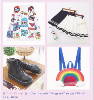 bag cute kawaii fashion rainbow black and white drmartens skirt sweater anime cute print shoes