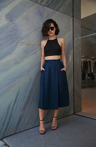 blue skirt blue skirt top strappy black crop cropped sandal heels high waisted skirt strappy black heels