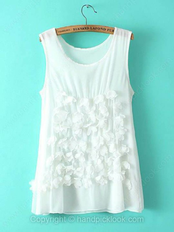 applique white t-shirt sleeveless t-shirt top