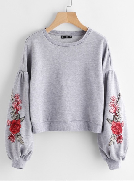 sweater embroidered girly grey grey sweater jumper sweatshirt floral flowers