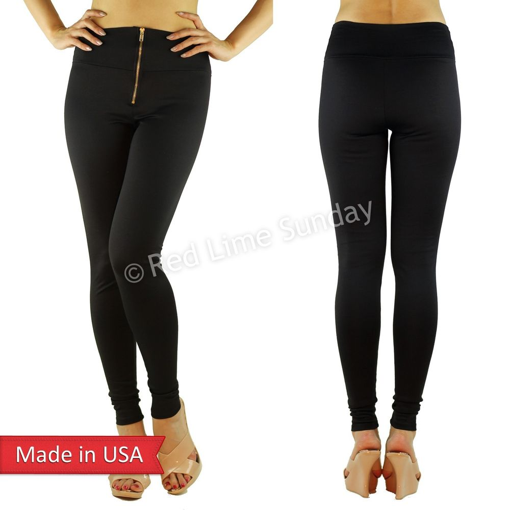 High Waist Solid Black Comfy Fitted Cotton Leggings Tights Pants w/ Zipper USA