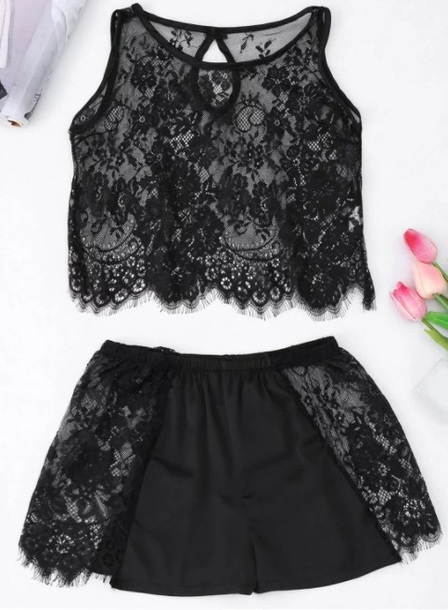 shorts girly black lace lace top two-piece matching set crop tops crop lingerie lace lingerie lounge wear