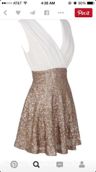 dress white gold ivory dress gold sequins gold dress chiffon cocktail dress party dress