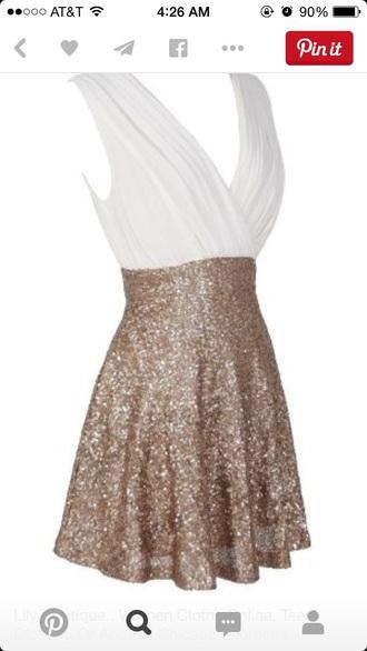 dress white gold ivory dress gold sequins gold dress chiffon cocktail dress party dress