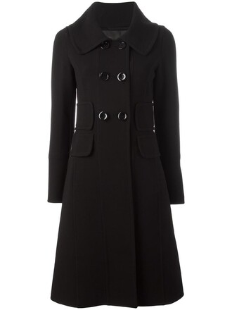 coat double breasted women spandex black wool