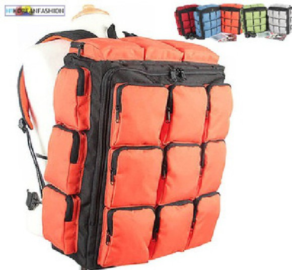 bag orange bag backpack orange multicolor clothes multipocket colorful