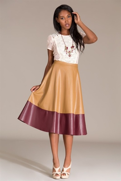COLOR BLOCK LEATHER SKIRT