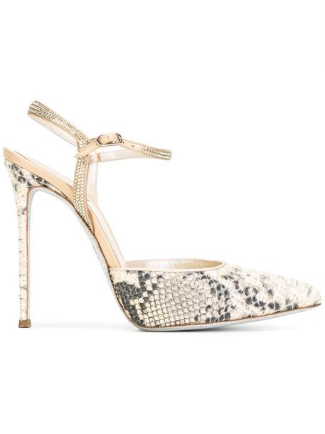 René Caovilla women python pumps leather nude shoes