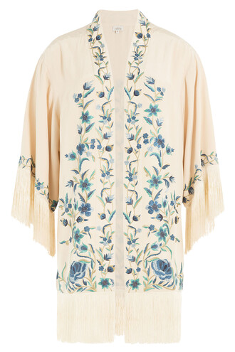 jacket embroidered silk beige