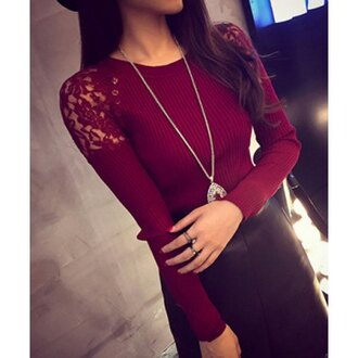 sweater red long sleeves knitwear lace fashion style trendy burgundy fall outfits trendsgal.com