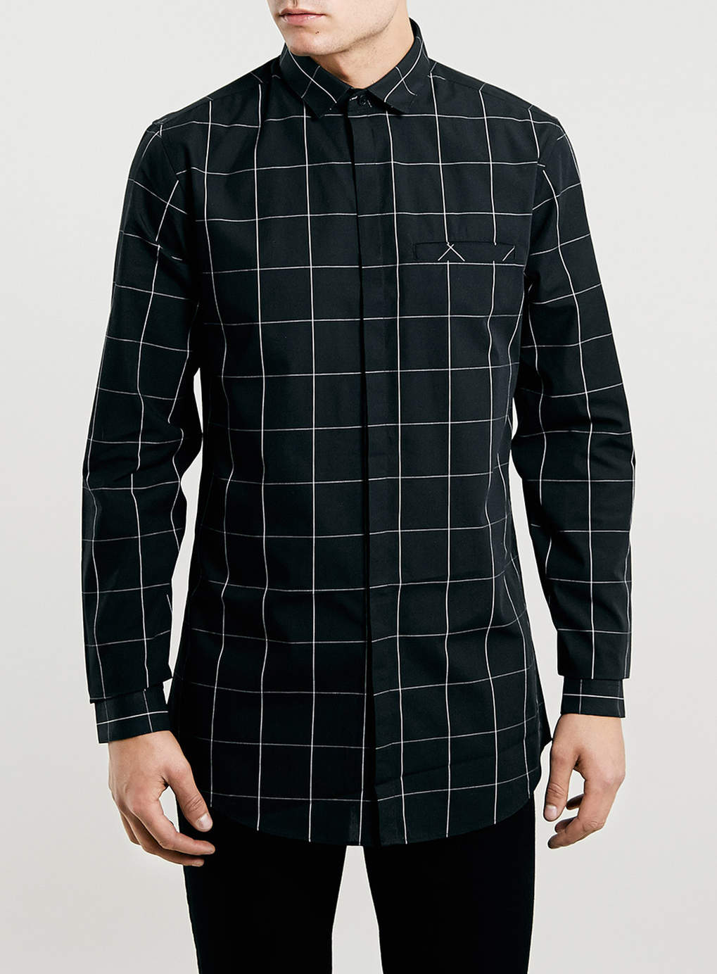 Black Check Longline Shirt - Men's Shirts - Clothing