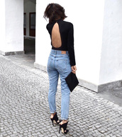 top,open back bodysuit,open back,open back top,sexy,bodysuit,black bodysuit,denim,jeans,sandals