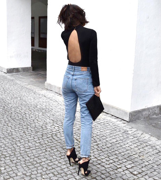 top open back bodysuit open back open back top sexy bodysuit black bodysuit denim jeans sandals