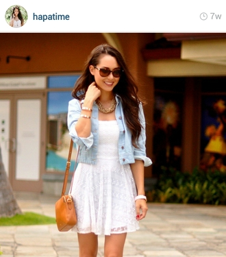 hapatime girly casual white dress lace dress lace pattern light blue light wash denim jacket sunglasses hapa time jacket