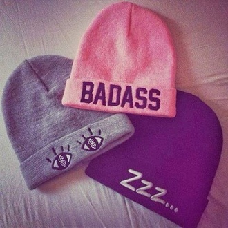 hat badass zzz... eyes beanie dope designs benies sleep girly cute colorful pink swag black grey black beanie pink beanie pink beanie$ grey beanie zzzz style classy hot crochet lace up party print winter outfits knitwear knitted beanie streetwear streetstyle $$ winter beanie