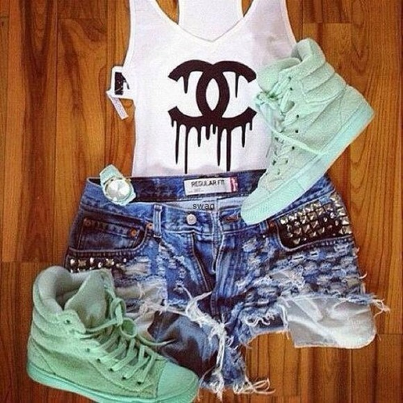 chanel tank shoes shorts shirt jewels tank top chanel, white tank