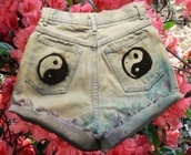 shorts,shorts high waisted ying yang tie dye,yin yang,yang,denim,washed,faded,diy,semi-faded