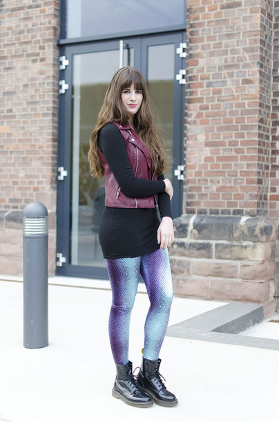 andy sparkles blogger leather jacket printed leggings jacket dress leggings shoes