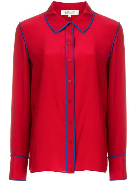 Dvf Diane Von Furstenberg - button collared blouse - women - Silk - 10, Red, Silk