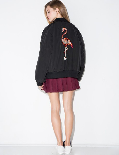 Jacket: flamingo embroidered bomber jacket, flamingo bomber jacket ...