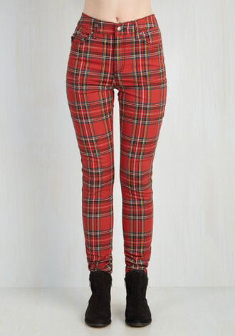 pants plaid high red