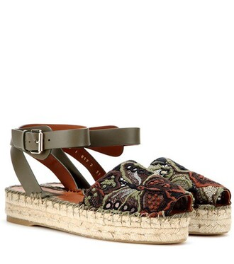 embroidered sandals green shoes