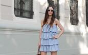 jewels,with or without shoes,sunglasses,blogger,dress,bag,shoes,blue dress,summer dress,summer outfits