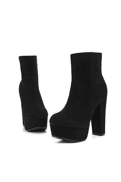 Vintage Zipped Block Heel Ankle Boots - OASAP.com