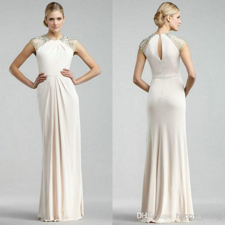 Sexy Evening Gowns With High Neck Sheer Cap Sleeves Sheath Floor