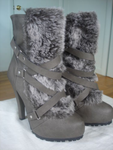 "Womens dark gray bumper stiletto 5"" high heel ankle boots size 6 brand new"