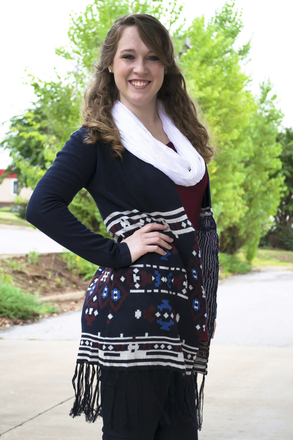 cardigan aztec tribal pattern fringes fallcollection shopsiloe burgundy blue dress