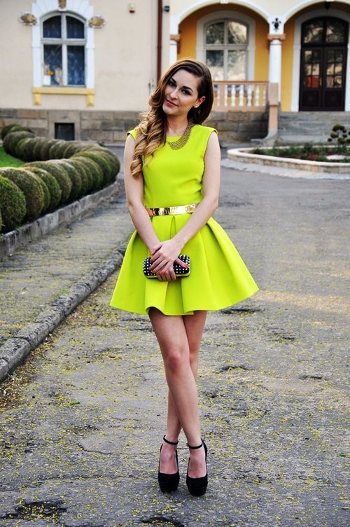 2013 fashion Neon cute dress, belt dress, pleated sexy dress, Skater Skirt neon green yellow, bandage dress nightclub-in Dresses from Apparel & Accessories on Aliexpress.com