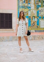 dress,buttons dress,linen dress,shoes,sandals,bag