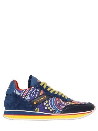 sneakers leather silk paisley blue shoes