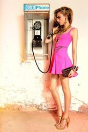dress,pink,cara delevingne,short dress,neon,hot pink dress,hot pink,bodycon dress,skater dress