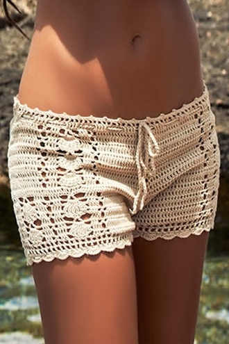 shorts crochet white white crochet white crochet top white crochet shorts beige beige crochet beige crochet shorts beige shorts summer summer outfits lace up lace up shorts lace up crochet shorts beach beachwear beach clothing casual zaful bottoms knitwear floral sexy cute beautiful fashion outfit