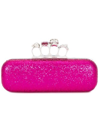 glitter long women clutch purple pink bag