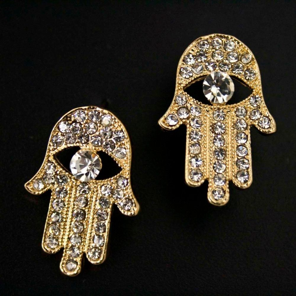 Clear Crystal Rhinestone Evil Eye Hamsa Hand Stud Earrings Gold Tone | eBay