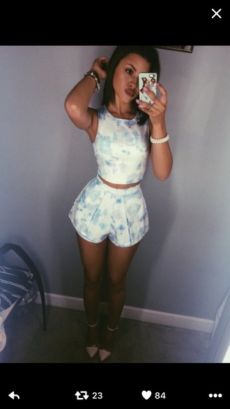 romper blue and white two-piece