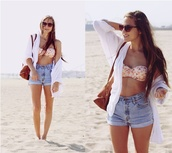 shirt,clothes,beach,cute,outfit,summer,high waisted,swimwear,shorts,bikini,sweater,short,peach,sunglasses,denim,blue,bag,High waisted shorts,pants