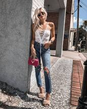 jeans,ripped jeanst,op,top,bag,shoes,sunglasses