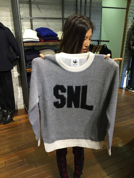 sweater black and white snl snl sweater